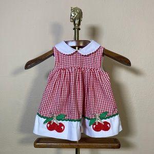 Samara Toddler Girls Gingham Cherry Appliqué Dress